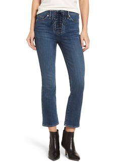 Hudson Jeans Bullocks High Waist Lace-Up Crop Flare Jeans (Stone Cold)