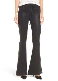 Hudson Jeans Bullocks High Waist Lace-Up Flare Jeans (Black Coated)