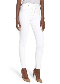 Hudson Jeans Bullocks Lace-Up High Waist Super Skinny Jeans (Optical White)