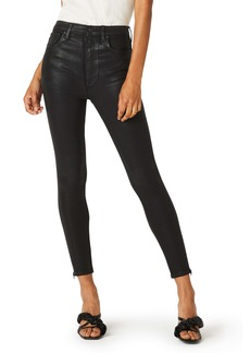 Hudson Jeans Centerfold Coated Super High Waist Ankle Skinny Jeans (High Shine Black)
