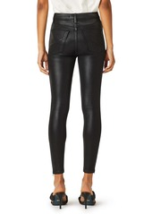 Hudson Jeans Centerfold Coated Super High Waist Ankle Skinny Jeans (High Shine Black)