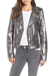 Hudson Jeans Classic Metallic Lambskin Leather Moto Jacket