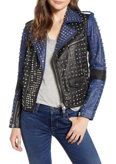 Hudson Jeans Colorblock Studded Lambskin Leather Biker Jacket