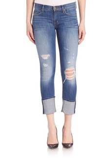 Hudson Jeans Distressed Muse Cuffed Crop With Knee Holes