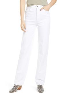 Hudson Jeans Faye High Waist Straight Leg Jeans (Crisp White)