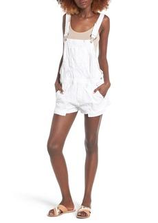 Hudson Jeans Florence Short Denim Overalls (Destroyed White)