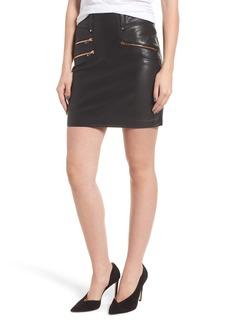 Hudson Jeans High Waist Moto Lambskin Leather Miniskirt