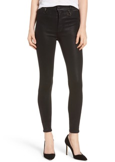 Hudson Jeans Kooper Coated Skinny Jeans (Black Coated)