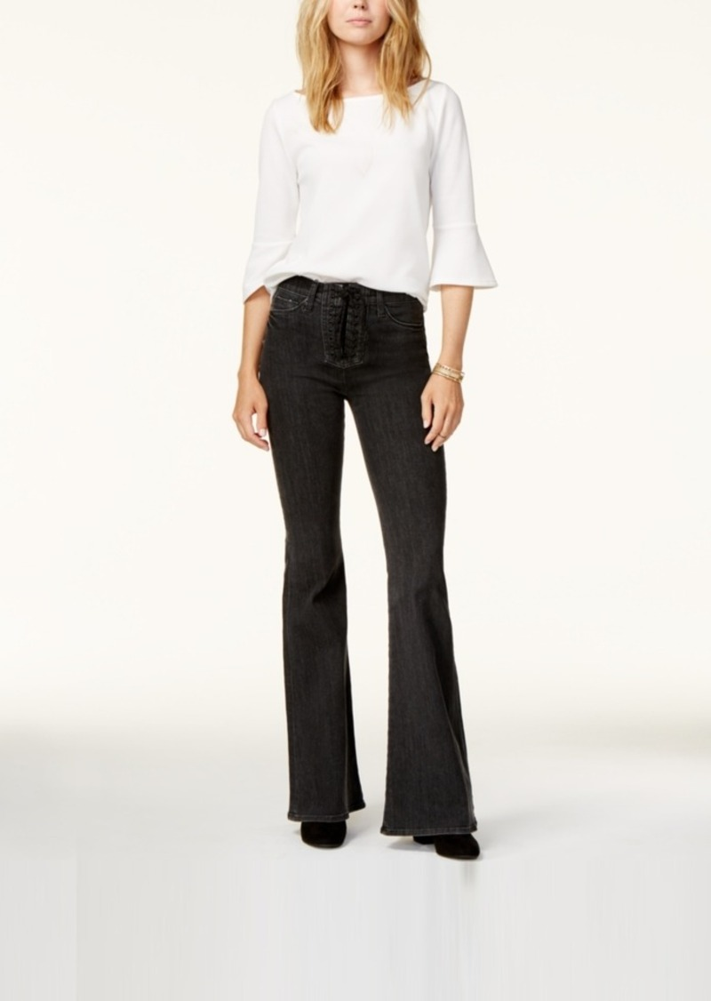 Hudson Jeans Lace-Up Flare-Leg Jeans