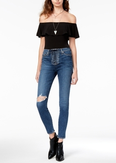 Hudson Jeans Lace-Up Ripped Skinny Jeans