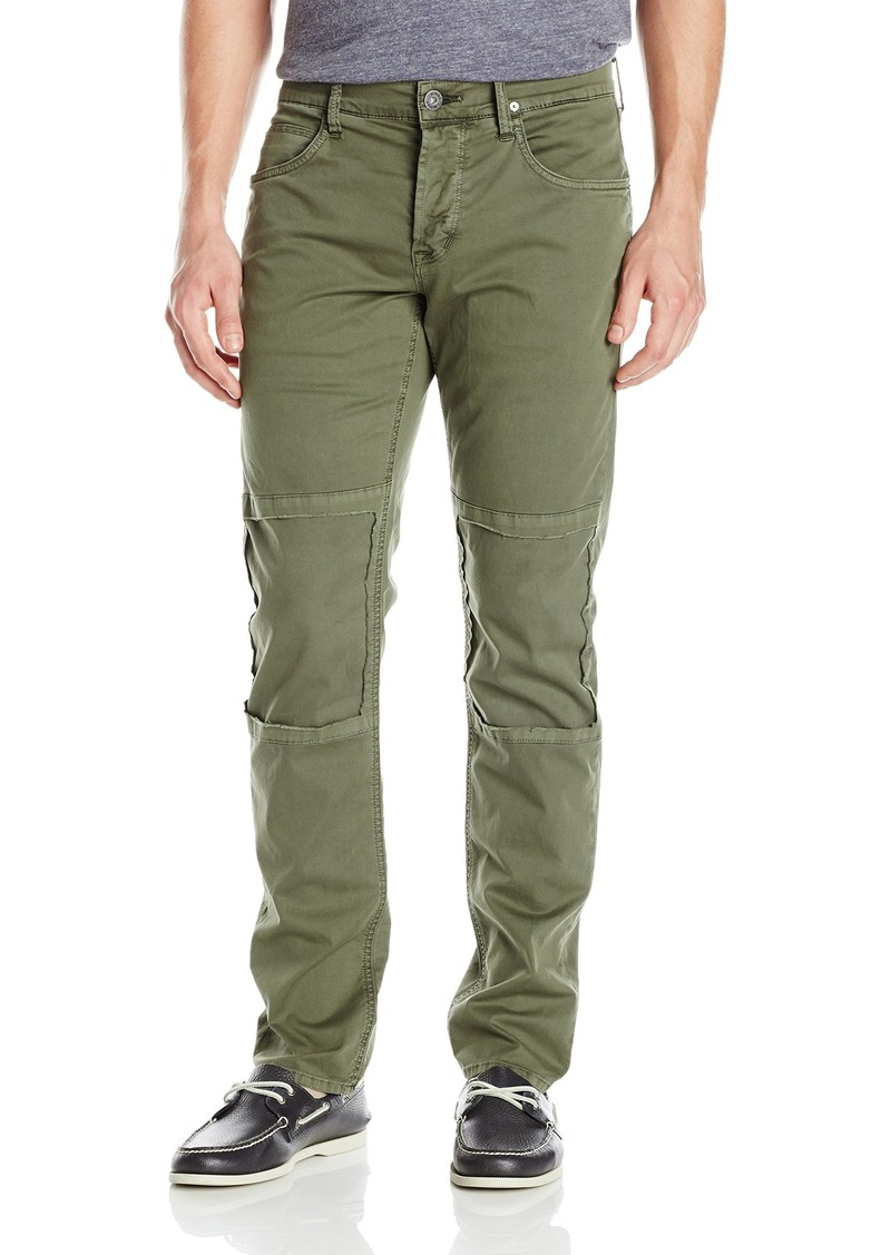 Hudson Jeans Men's Damian Slim Straight Leg Twill Pant with Biker Knee Patch