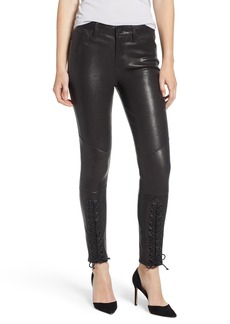 Hudson Jeans Nico Lace-Up Super Skinny Lambskin Leather Pants