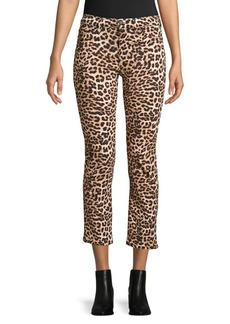 Hudson Jeans Nico Leopard-Print Cropped Jeans