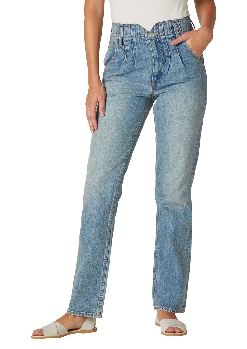 Hudson Jeans Pleated Notch High Waist Straight Leg Jeans (Sift)