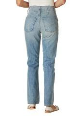 Hudson Jeans Pleated Notch High Waist Straight Leg Jeans (Sift)