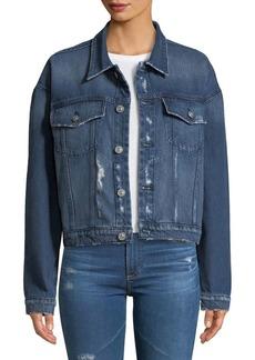 Hudson Jeans Rei Cropped Lace-Up Denim Jacket