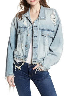 Hudson Jeans Rei Distressed Crop Denim Jacket
