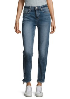 Hudson Jeans Rival Seamed High-Rise Straight-Leg Jeans With Frayed Hem