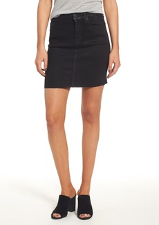 Hudson Jeans Robbie High Waist Coated Denim Miniskirt (Sable Black)