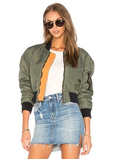 Hudson Jeans Rogue Cropped Bomber in Olive. - size L (also in S,XS,M)
