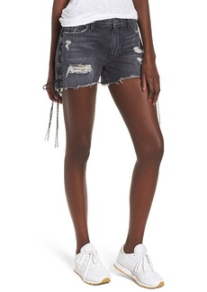 Hudson Jeans Sade Lace-Up Cutoff Denim Shorts (Mercury)