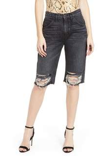 Hudson Jeans Sloane Long Cutoff Shorts (Worn Scheme)