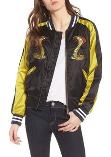 Hudson Jeans Snake Satin Bomber Jacket
