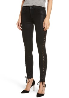 Hudson Jeans Stevie Lace-Up Skinny Jeans (Black Coated)