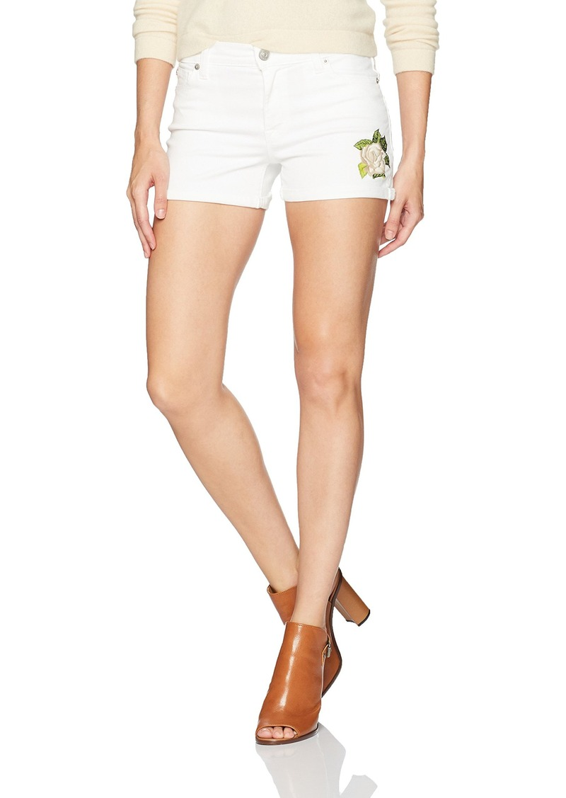 1c9c802660d Hudson Jeans Women's Asha Embroidered White Midrise Cuffed Jean Shorts
