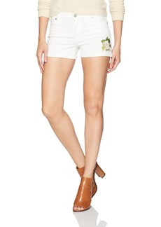 Hudson Jeans Women's Asha Embroidered White Midrise Cuffed Jean Shorts Embroidery Floral