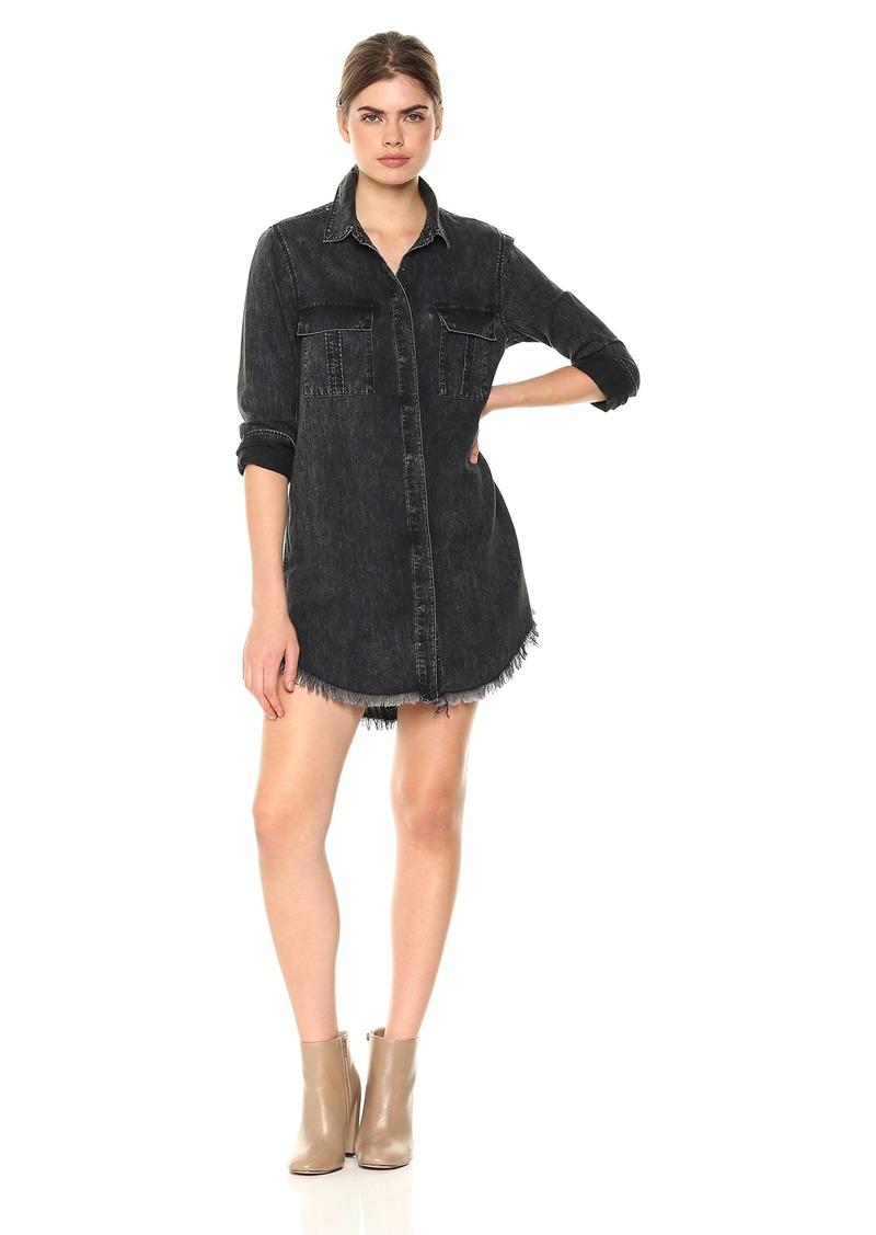 Hudson Jeans Women's Bijou Button Front Denim Shirt Dress  LG