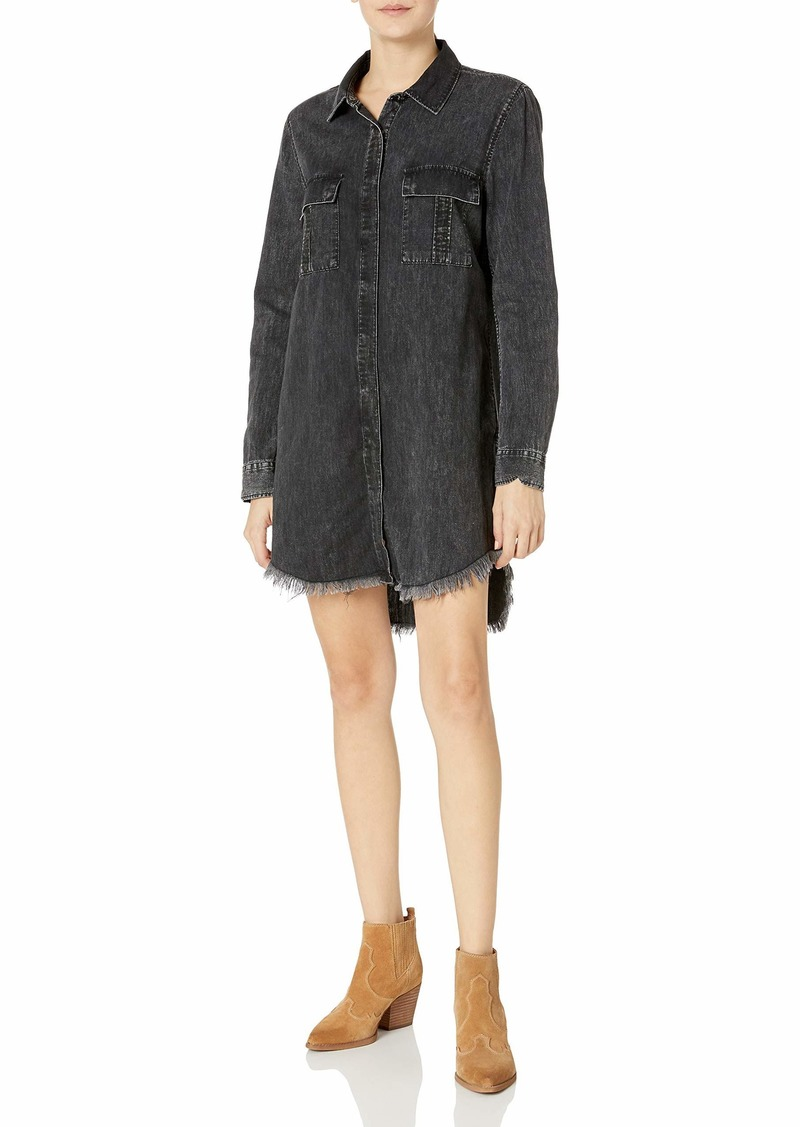 HUDSON Jeans Women's Bijou Button Front Denim Shirt Dress  MD