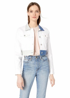 HUDSON Jeans Women's Cropped Trucker Jacket White ice MD