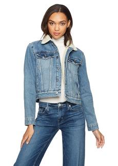Hudson Jeans Women's Georgia Denim Jacket with Sherpa Lining  LG