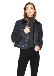 Hudson Jeans Women's Georgia Denim Jacket with Sherpa Lining  MD