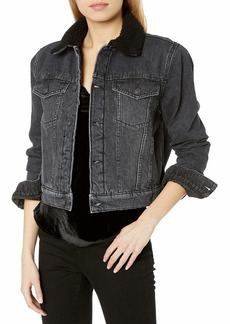 HUDSON Jeans Women's Georgia Denim Jacket with Sherpa Lining  XS