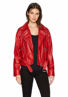 Hudson Jeans Women's Red Leather Jacket riot SM