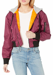 HUDSON Jeans Women's Rogue Cropped Bomber with Hood  LG
