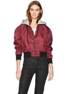 Hudson Jeans Women's Rogue Cropped Bomber with Hood  SM