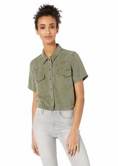 HUDSON Jeans Women's Short Sleeve Western Shirt Desert sage LG