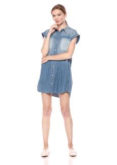 Hudson Jeans Women's Sleeveless Denim Shirt Dress  LG
