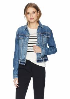 Hudson Jeans Women's Triple Waistband Cropped Denim Jacket  LG