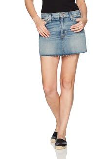 Hudson Jeans Women's Vivid Denim Mini Skirt with Raw Hem