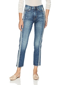 Hudson Jeans Women's Zoeey HIGH Rise Straight Ankle 5 Pocket Jean rip Love