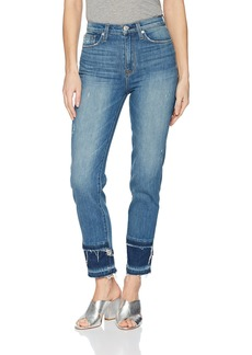 Hudson Jeans Women's Zoeey HIGH Rise Straight Crop Double Step Hem 5 Pocket Jean