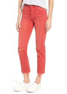Hudson Jeans Zoeey Crop Straight Leg Jeans (Red Alert)