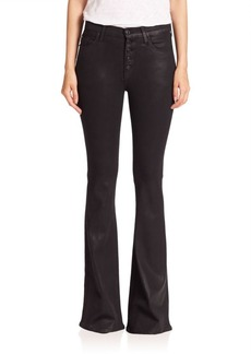 Hudson Jodi Button Fly Coated Flared Jeans