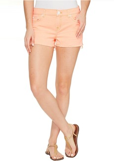 Hudson Jeans Kenzie Cut Off Five-Pocket Shorts in Luminous Orange