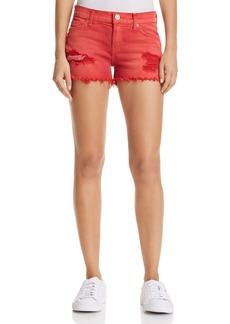 Hudson Kenzie Cutoff Denim Shorts in Red Alert