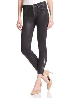 Hudson Lace-Up Crop Jeans in Mercury Hail